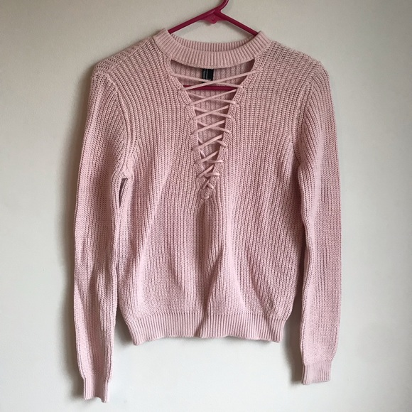 NWOT Forever 21 Knit Lace Up Sweater